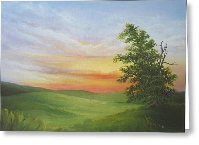 Sunset With A Tree Greeting Card by Mary Rogers