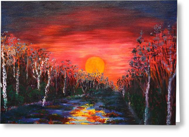 Sunset With Birch Trees Greeting Card