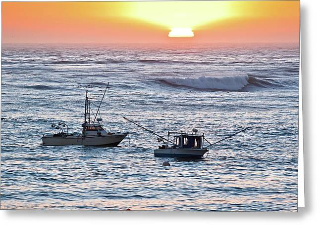 Sunset With Fishing Boats Greeting Card