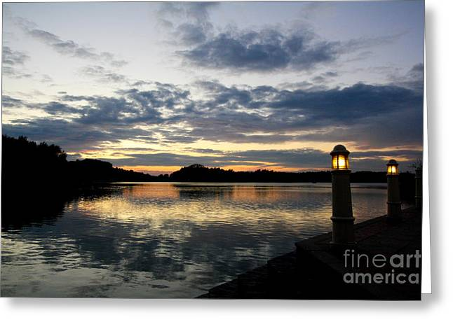 Sunset With Lights Greeting Card by Jo