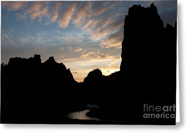 Sunset With Rugged Cliffs In Silhouette Greeting Card