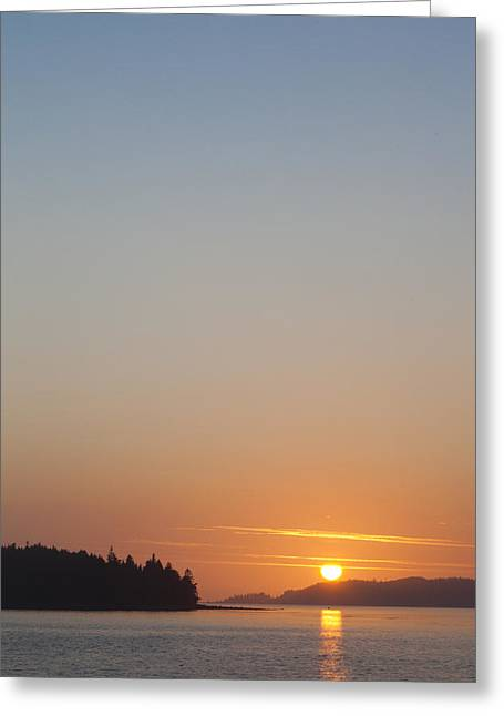 Sunset With The Mountains Of Vancouver Greeting Card