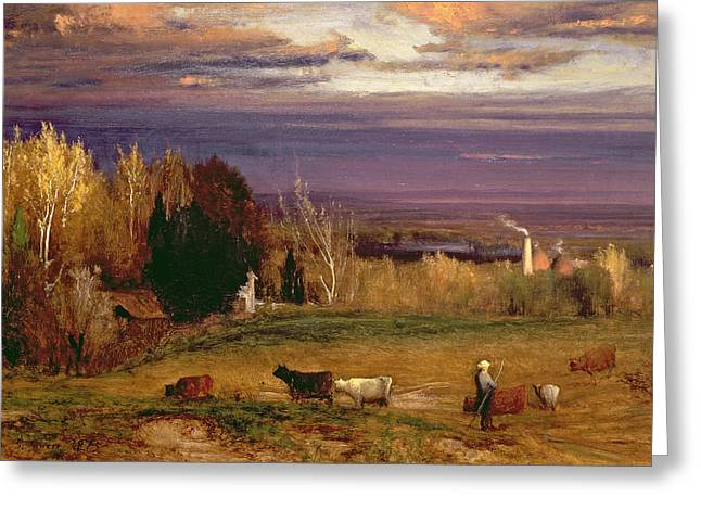 Sunshine After Storm Or Sunset Greeting Card by George Snr Inness