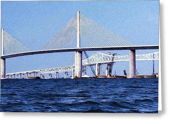 Sunshine Skyway Bridge II Greeting Card by Richard Rizzo