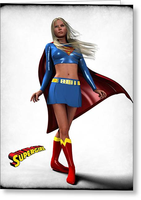 Super Girl Greeting Card by Frederico Borges
