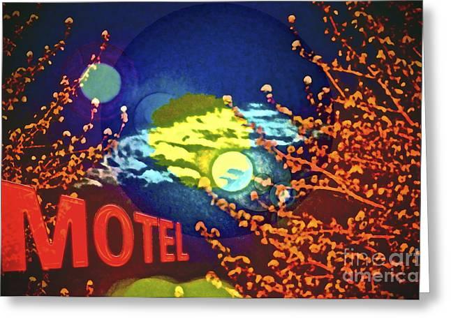 Super Moon Motel Greeting Card by Gwyn Newcombe