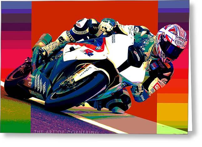 Superbike School Bmw Greeting Card by Barry Shereshevsky