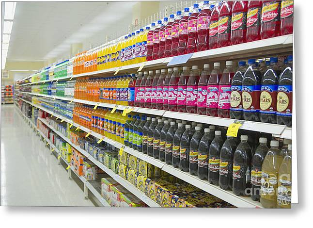 Supermarket Shelves And Aisle Greeting Card by Dave & Les Jacobs
