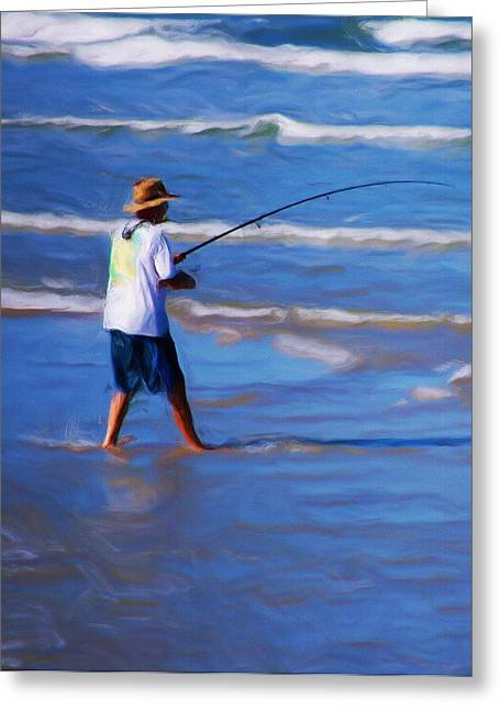 Surf Casting Greeting Card by David Lane