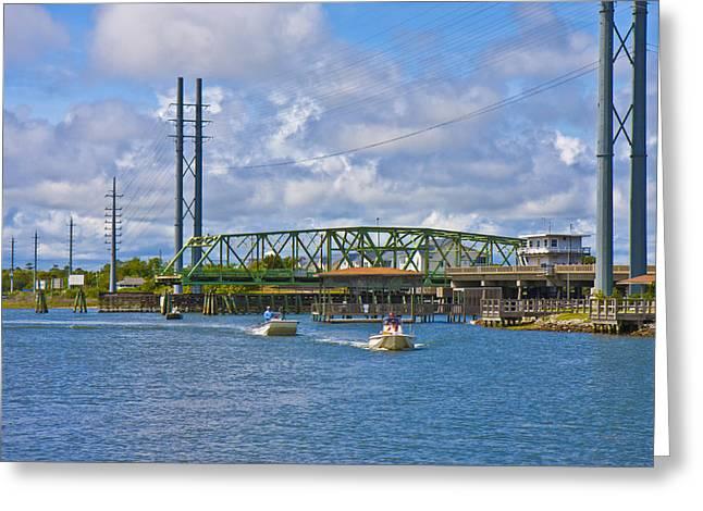 Surf City Swing Bridge Greeting Card by Betsy Knapp