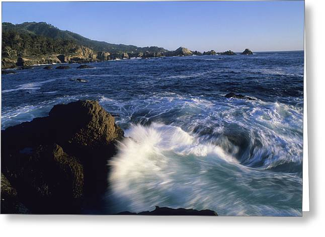 Surf Pounds And Swirls Around Bird Rock Greeting Card by Rich Reid