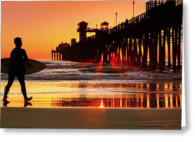 Surf Session At Sunset Greeting Card by Donna Pagakis