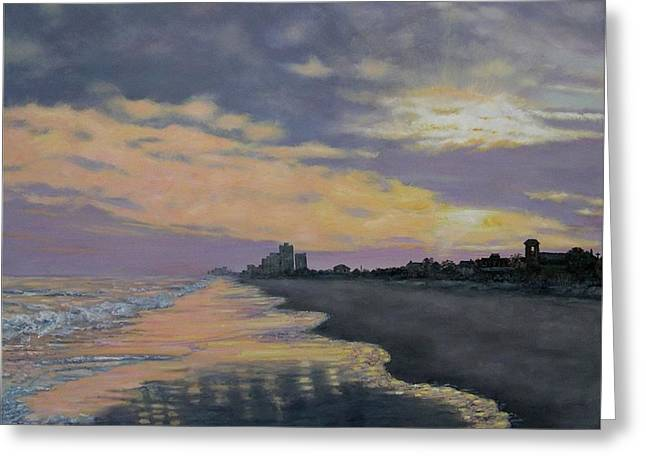 Greeting Card featuring the painting Surf Sunset Reflections by Kathleen McDermott