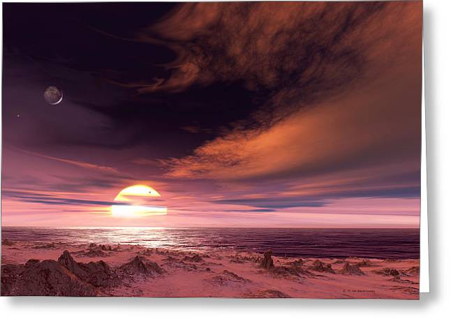 Surface Of Extrasolar Planet Gliese 581c Greeting Card by Detlev Van Ravenswaay