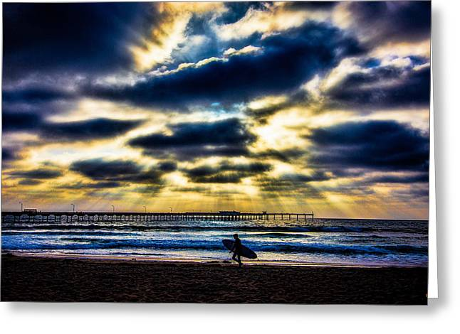 Surfer At Pacific Beach Greeting Card by Chris Lord