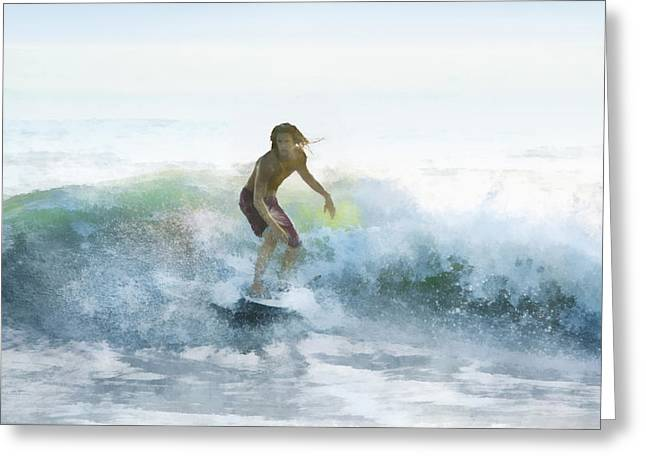 Surfer On A Morning Wave Greeting Card by Francesa Miller