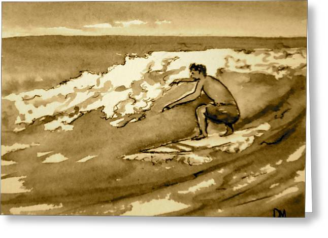 Surfer Sepia Greeting Card by Pete Maier