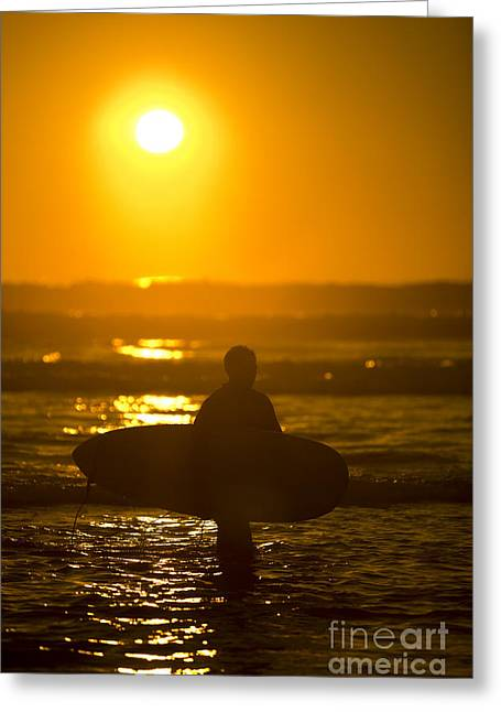 Surfer Sunset Silhouette Greeting Card by Daniel  Knighton