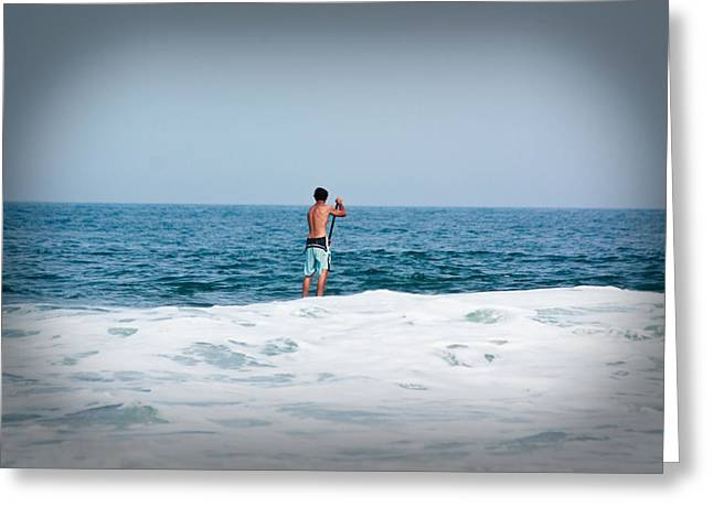 Surfer Waiting For Next Wave Greeting Card by Ann Murphy