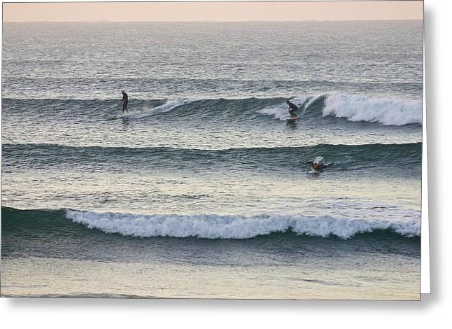 Surfers Crowd The Lineup As Waves Peel Greeting Card