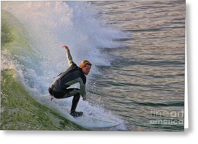 Surfin' The Wave Greeting Card by Mariola Bitner