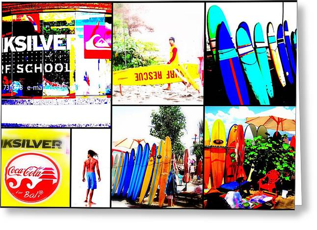 Surfing Bali Beaches Greeting Card by Funkpix Photo Hunter
