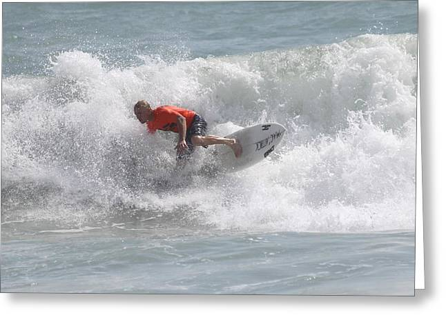 Surfing In Cocoa Beach Greeting Card by Jeanne Andrews
