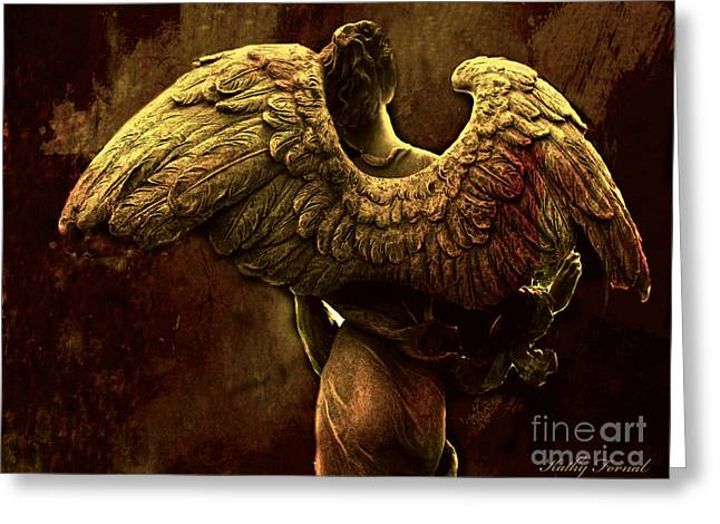 Surreal Fantasy Angel Art Wings Impressionistic   Greeting Card by Kathy Fornal
