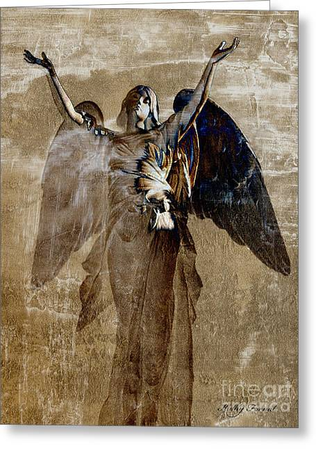 Surreal Fantasy Angel Wings Heavenly Art Greeting Card by Kathy Fornal
