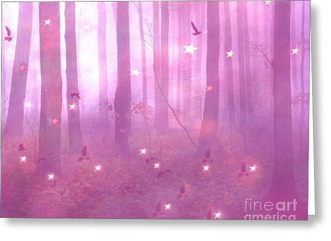 Surreal Fantasy Dreamy Pink Starlit Woodlands Greeting Card