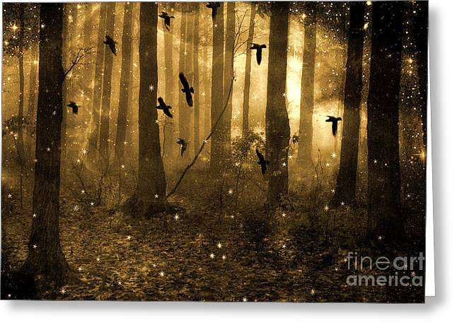 Surreal Fantasy Ravens Crows Sepia Woodlands With Stars Greeting Card by Kathy Fornal