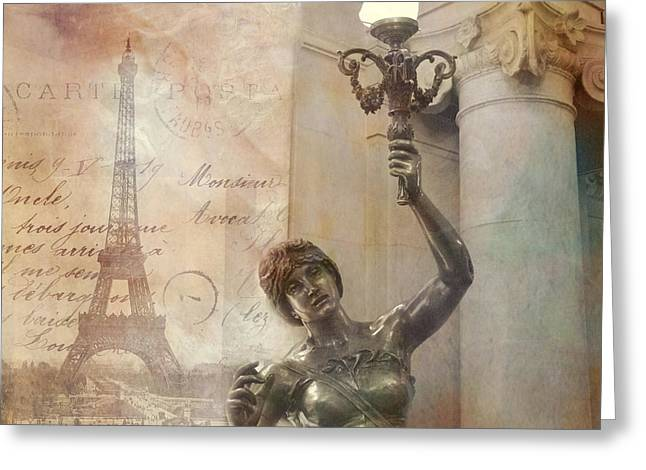 Paris Eiffel Tower Surreal Art Deco With Female Statue Street Lantern Montage  Greeting Card by Kathy Fornal