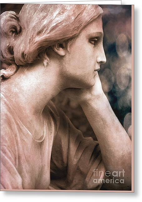 Surreal Female Face Dreamy Contemplation  Greeting Card by Kathy Fornal