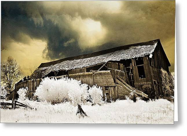Surreal Infrared Barn Scene With Stormy Sky Greeting Card by Kathy Fornal