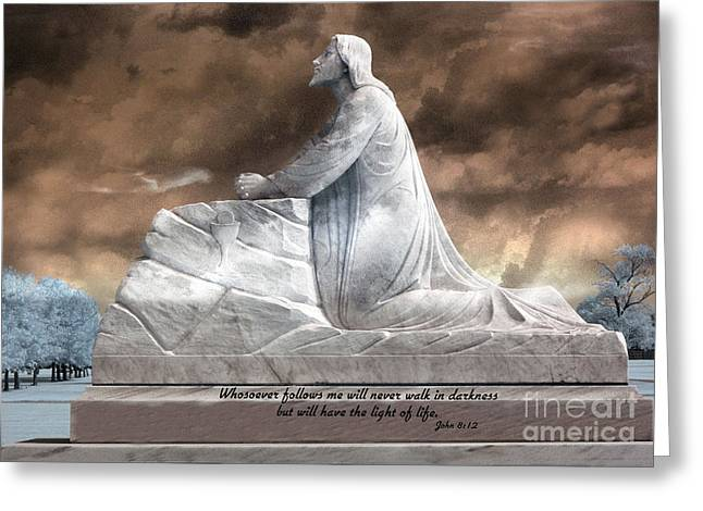 Jesus Christian Art  - Jesus Kneeling With Bible Scripture Quote Greeting Card by Kathy Fornal