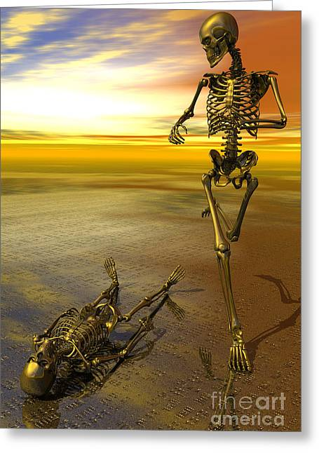 Surreal Skeleton Jogging Past Prone Skeleton With Sunset Greeting Card by Nicholas Burningham