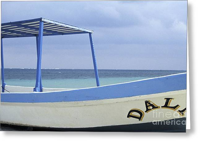 Greeting Card featuring the photograph Surrealist Fishing Boat Riviera Maya Mexico by John  Mitchell
