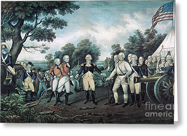 Surrender Of General Burgoyne, 1777 Greeting Card by Photo Researchers