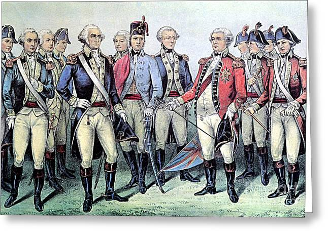 Surrender Of Lord Cornwallis, 1781 Greeting Card by Photo Researchers
