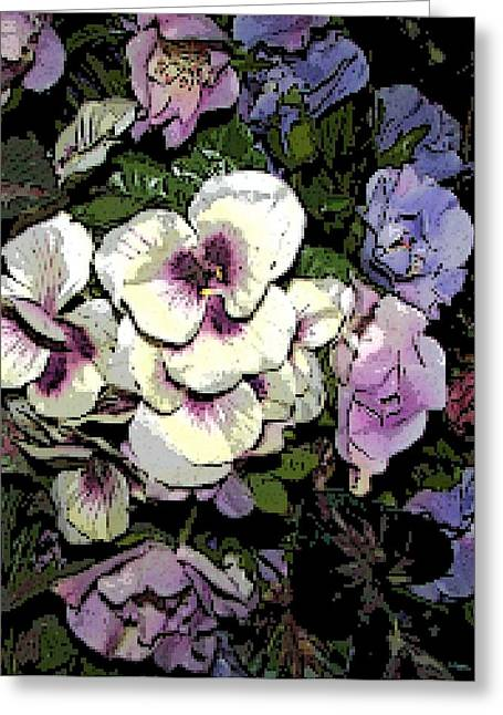 Surrounding Pansies Greeting Card