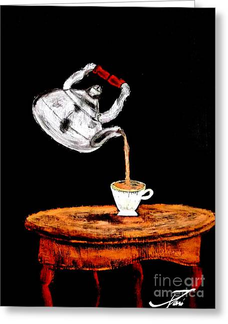 Suspended Teapot 2 Greeting Card by Ayasha Loya