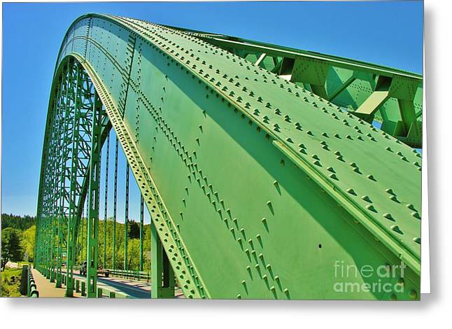 Greeting Card featuring the photograph Suspension Bridge by Sherman Perry