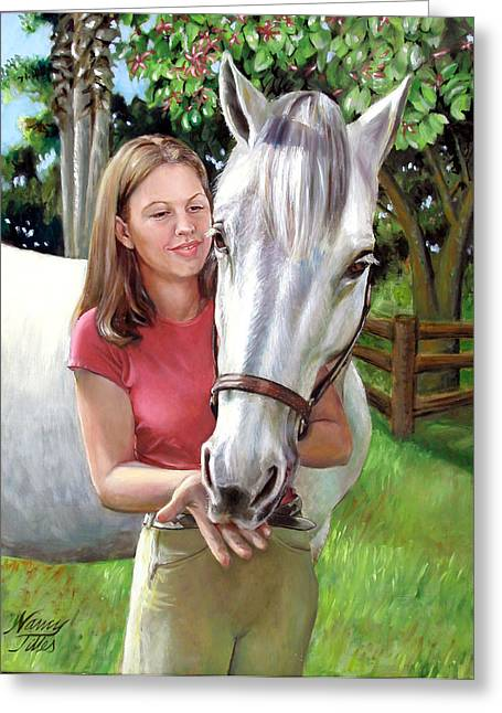 Greeting Card featuring the painting Suzanne With A White Horse by Nancy Tilles