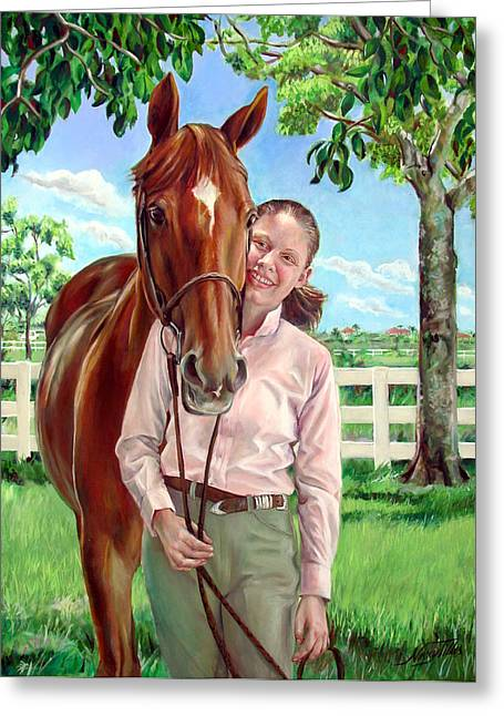 Greeting Card featuring the painting Suzanne With Her Horse by Nancy Tilles