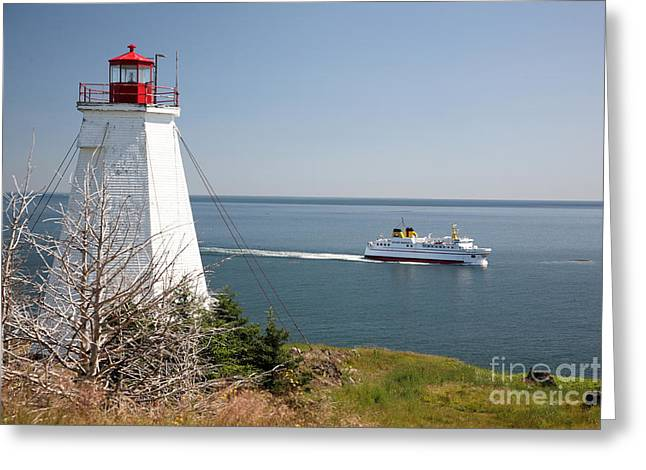 Swallowtail Lighthouse And Ferry Greeting Card by Ted Kinsman