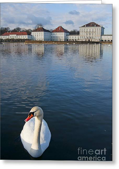 Swan At The Palace Greeting Card by Andrew  Michael