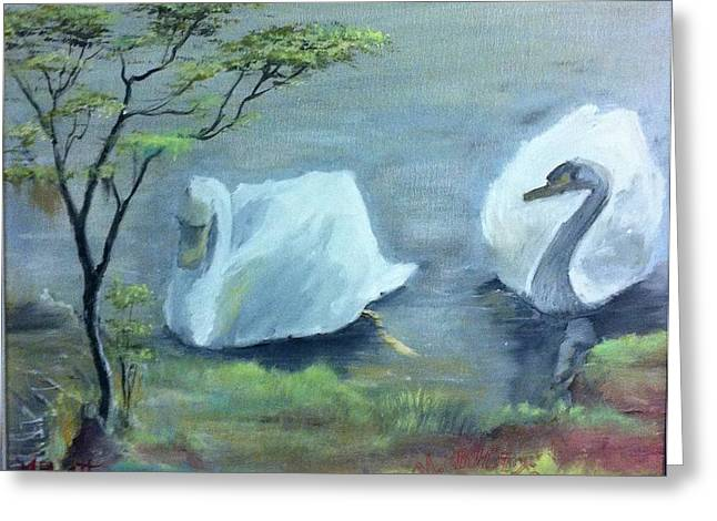 Swan Couple Greeting Card by M Bhatt