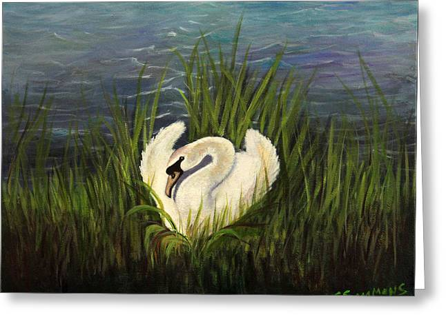 Greeting Card featuring the painting Swan Nesting by Janet Greer Sammons