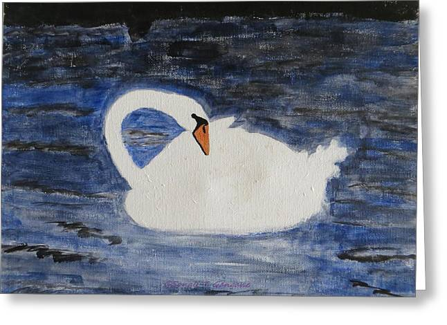 Greeting Card featuring the painting Swan  by Sonali Gangane