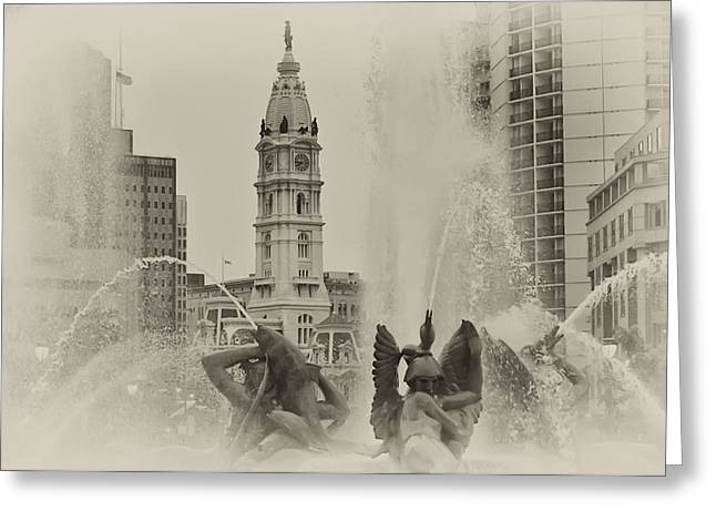 Swann Memorial Fountain In Sepia Greeting Card